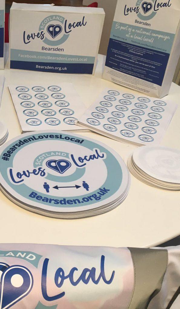 Printed Promotional branding for Bearsden Loves Local
